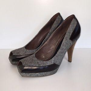 Marni Tweed Peep Toe Platform Heels